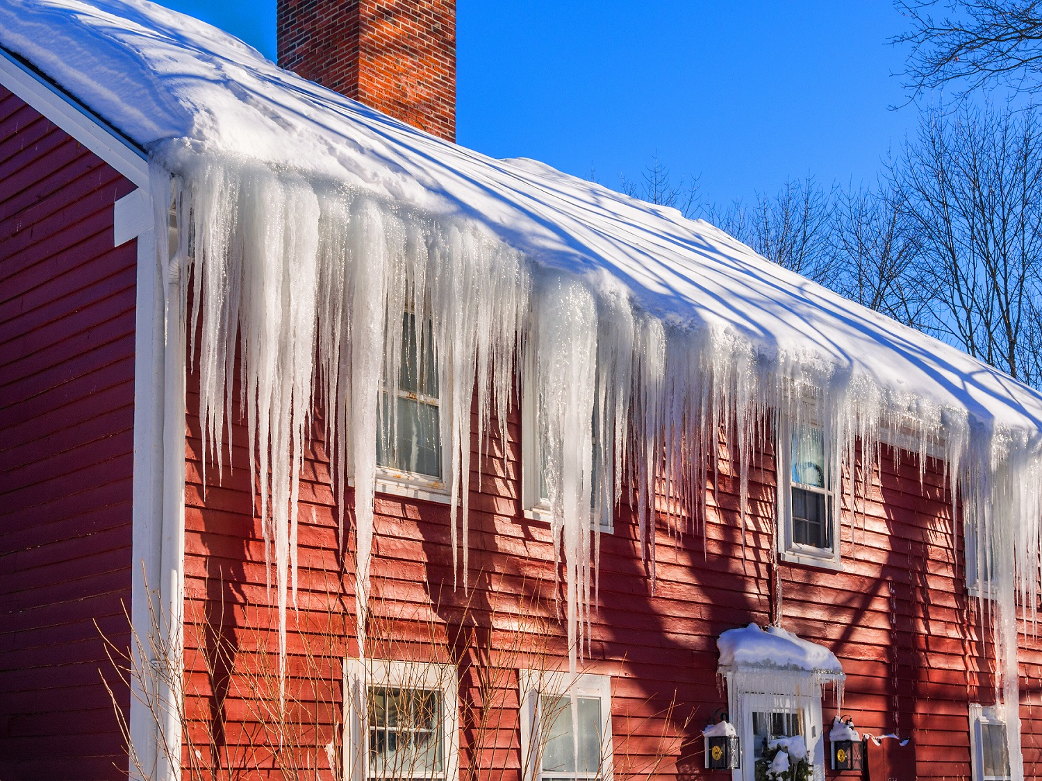 Icicles can damage seamless gutters